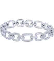 diamond accent cushion link bracelet in fine silver plate