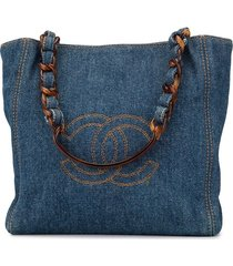 chanel pre-owned 2000 denim logo tote bag - blue