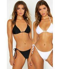 2 pack triangle bikini, black