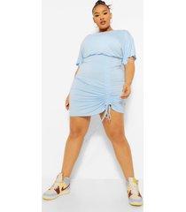 plus geplooide bodycon jurk met vleermuismouwen, powder blue
