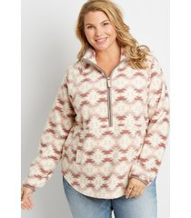 maurices plus size womens geometric pattern sherpa pullover sweatshirt white