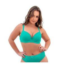 1 sutiã plus size reforçado cor lisa soutien bojão lingerie verde claro
