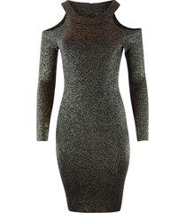 glitter cold shoulder dress