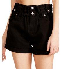 madden girl juniors' denim belted shorts