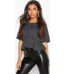 angel sleeve polka dot top, black
