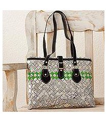 recycled metalized wrapper and leather accent shoulder bag, 'eco elegance' (nicaragua)