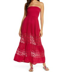 women's chelsea28 farrah smocked cover-up maxi dress, size xx-small - red