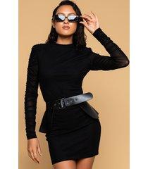 akira tina mesh sleeve dress with peplum belt