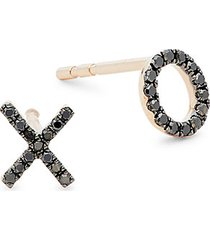 14k rose gold & 0.09 tcw black diamond xo earrings