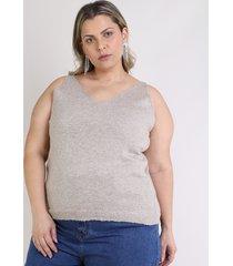 regata feminina mindset plus size em tricô decote v bege