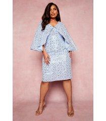 plus gelegenheids midi jurk met pailletten en kimono mouwen, pastel blue