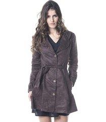 casaco gisele freitas sobretudo marrom - marrom - feminino - poliã©ster - dafiti