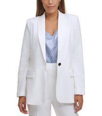 calvin klein petite twill one-button blazer