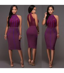 elegant purple bead mesh halterneck pencil dress