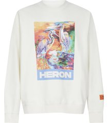 heron preston herons print cotton sweatshirt