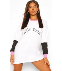 geborduurd colour block new york sweatshirt jurk, wit