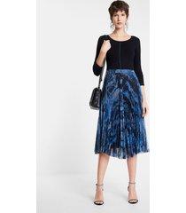 pleated dress round neck - blue - xl