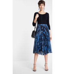 pleated dress round neck - blue - xl