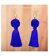 amber tasseled dangle earrings, 'lovely tassels in cobalt' (mexico)