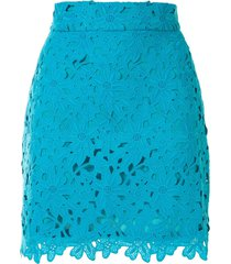 bambah lace crochet mini skirt - blue