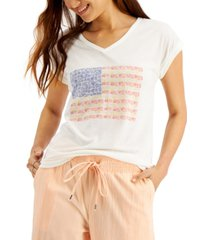 style & co petite graphic cuffed t-shirt, created for macy's