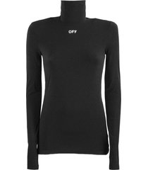 off-white black fabric slim fit sweater