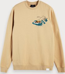 scotch & soda sustainable cotton blend printed long sleeve sweatshirt