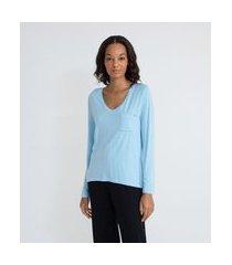 blusa de pijama em viscolycra com decote v e bolsinho | lov | azul | m