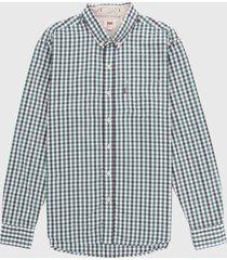 camisa verde-blanco-azul levis