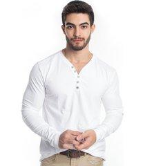 blusa tony menswear com elastano gola v branca