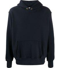 les tien heavweight fleece hoodie - blue