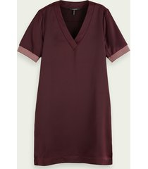 scotch & soda ribbed v-neck short sleeve dress