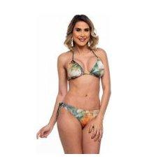 biquini cortininha asa delta com lacinhos folhas maré brasil feminino