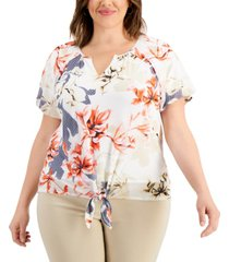 jm collection plus size printed tie-hem top, created for macy's