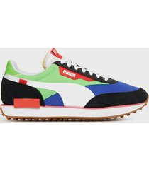 puma rider play on sneakers black/green