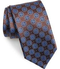 men's canali medallion silk tie, size regular - brown