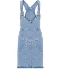 vestido salopete com bolsos - azul