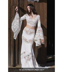 women's willowby yuzu long sleeve lace wedding crop top