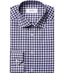 eton overhemd navy geruit contemporary fit