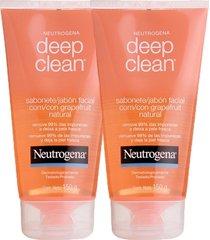 kit 2 sabonetes facial neutrogena deep clean gel grapefruit 150g incolor - tricae