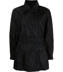 prada pre-owned short belted trench coat - black