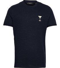 jprblabeach ss tee embroidery t-shirts short-sleeved blå jack & j s