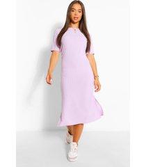 geribbelde midi jurk met split, lila