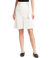 belted a-line pleated skirt