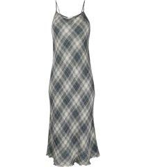 barena checked linen midi skirt - grey