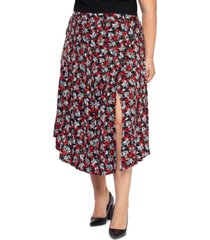 black tape plus size printed midi skirt