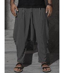 incerun harem holgado de pierna ancha con rayas verticales negras para hombre pantalones