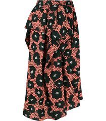 christian wijnants daisy print draped skirt - orange