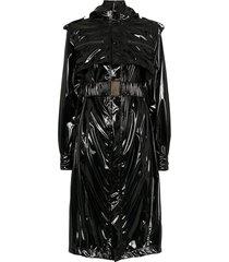faith connexion vinyl trench coat - black