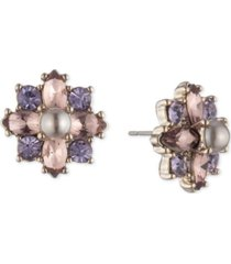 marchesa gold-tone crystal & imitation pearl cluster flower button earrings